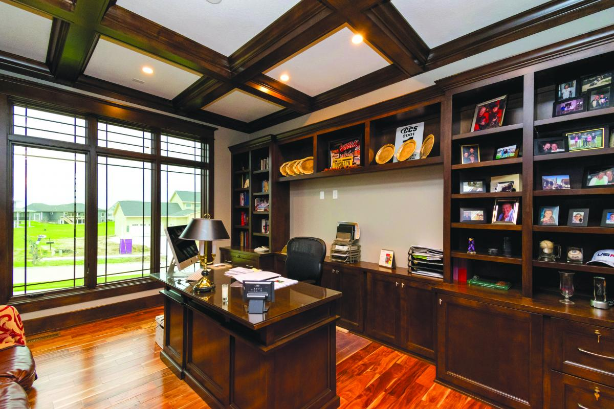Custom library of a new Norwalk Iowa home