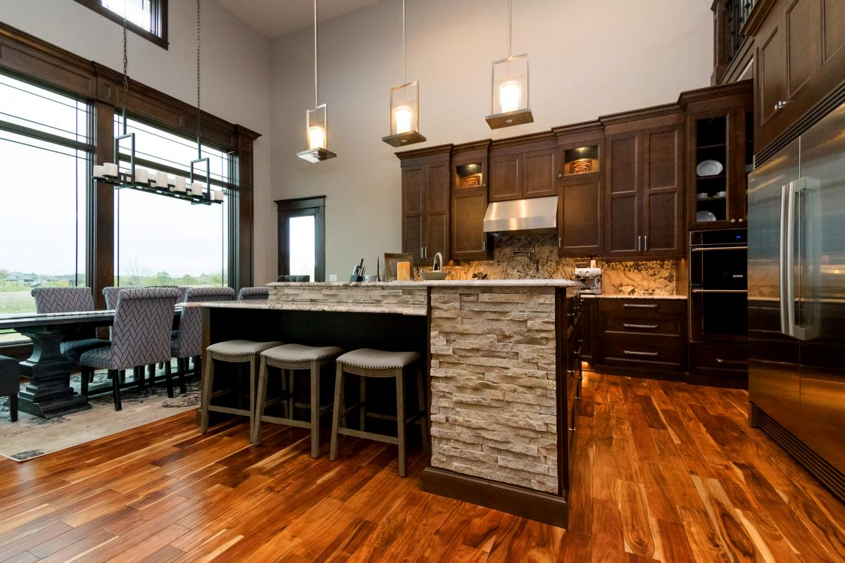 Kitchen island and dining area of Norwalk Iowa home.