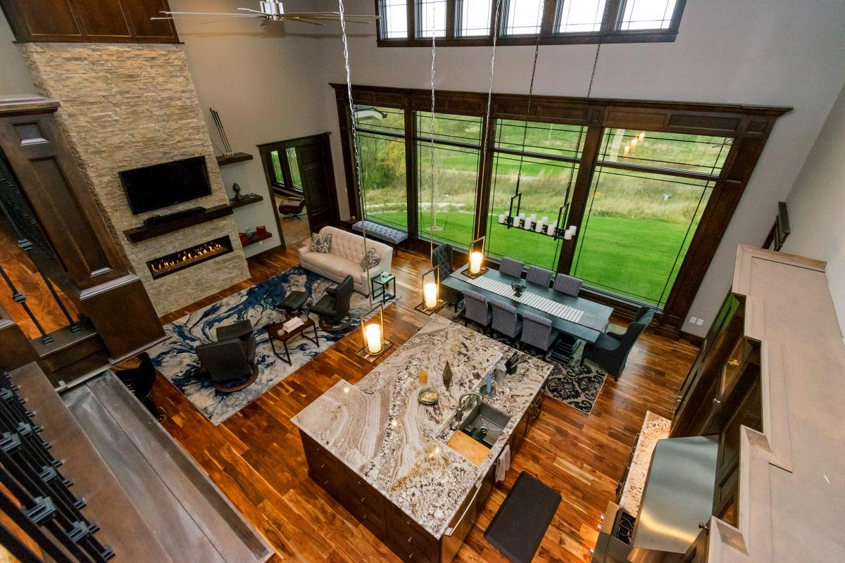 View overlooking large family room of Norwalk Iowa home.