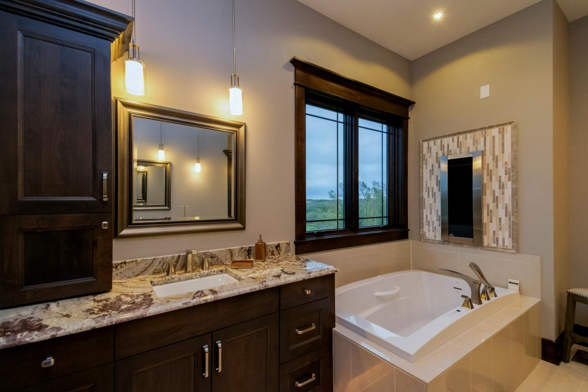 Master bathroom maintains prairie style in new Norwalk Iowa home