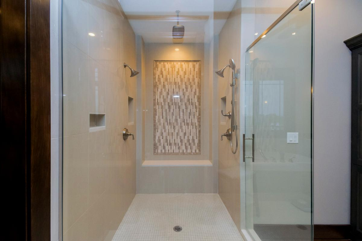 Large, custom walk-in shower is part of the master suite in Norwalk Iowa home.