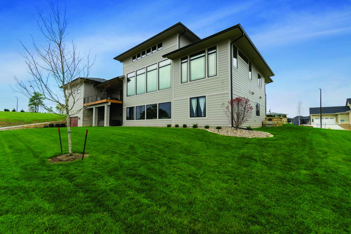 Rear view of Prairie Style home in Norwalk Iowa