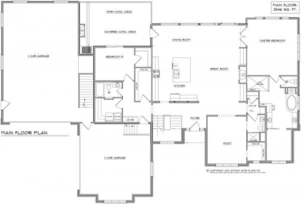 Floor plan by Ahmann Design Inc. of Norwalk Prairie Style home